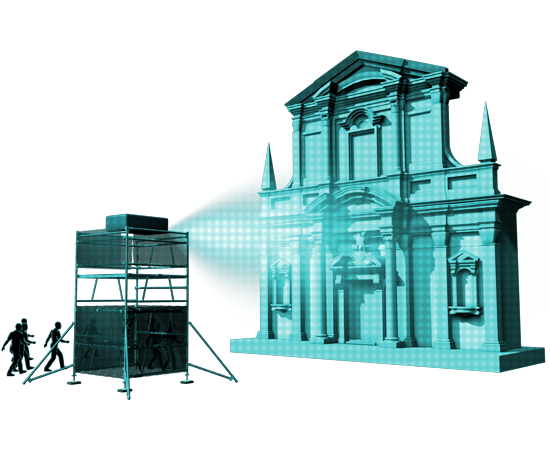 fassadenprojektion, project mapping, video mapping, 3d video mapping